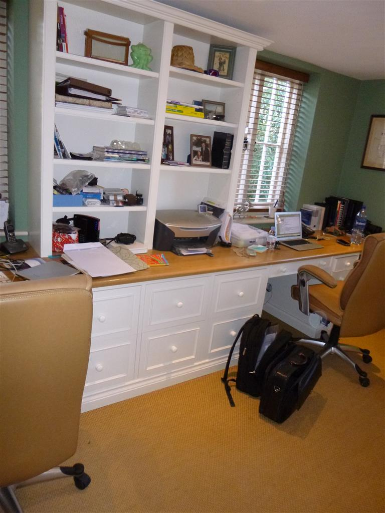 2) Dual knee hole Desk & filing drawers