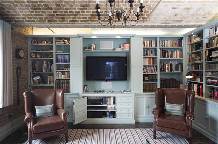 6) TV Bookcase with bi-fold doors