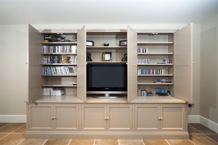 Classic TV Bookcase-doors open - TV And Family Room