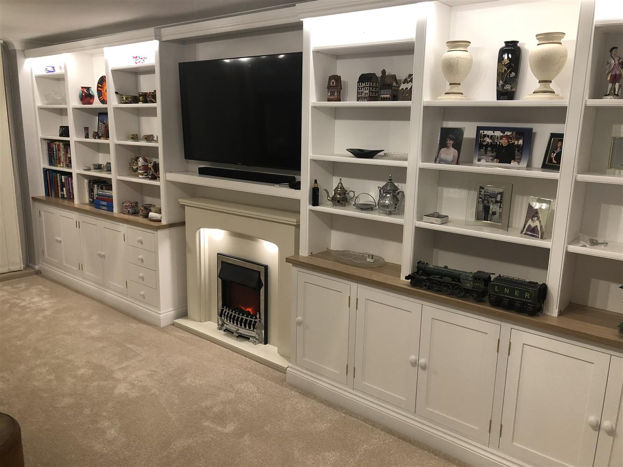 1) Wall mounted TV & Fire surround