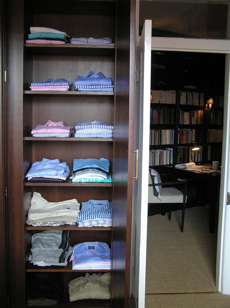 Dark wood shirt shelves